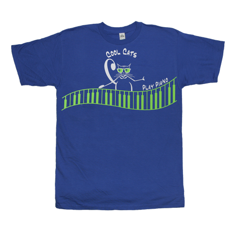 Cool Cats Play Piano, Mens music T Shirt Royal blue