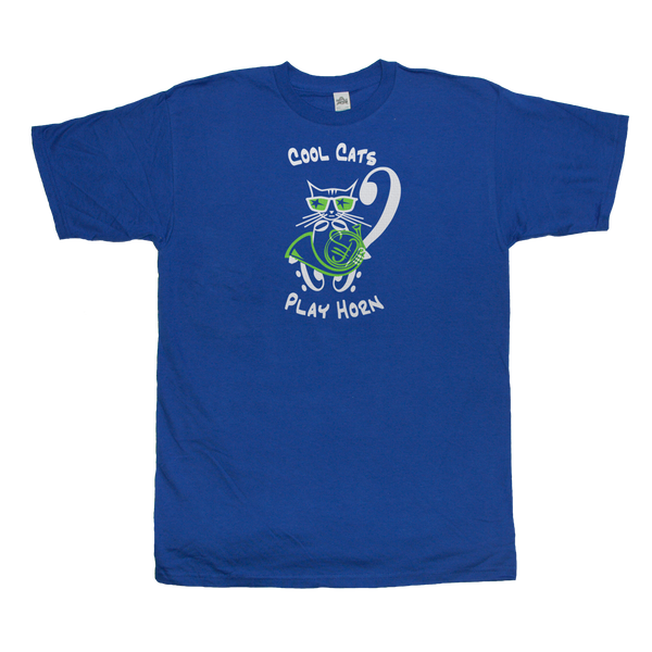 Cool Cat  French Horn T-Shirt, Blue