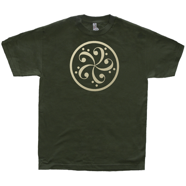 bass clef music t-shirt design mens olive