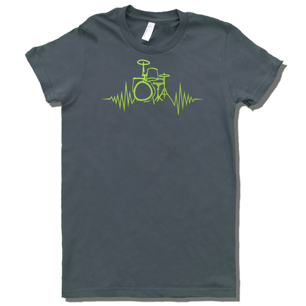 Heartbeat of a drummer graphic, on a grey T-shirt, womans cut