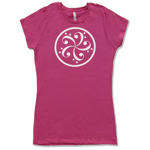 bass clef music t-shirt design womens hot pink