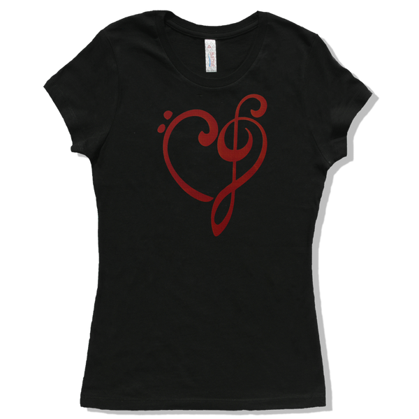Heart of Music Bass and Treble Clefs, Womens - TntMusicBox - 6