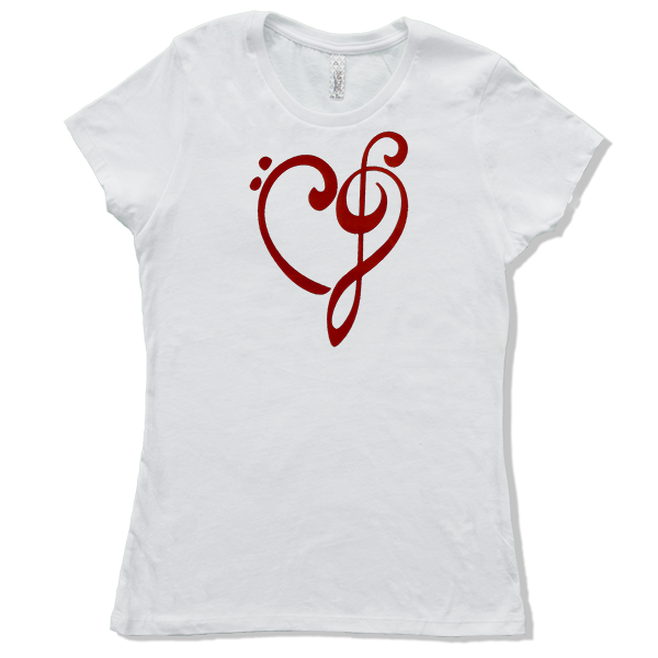 Heart of Music Bass and Treble Clefs, Womens - TntMusicBox - 8