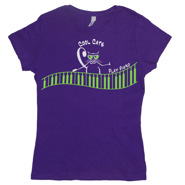 Cool Cats Play Piano, Womens music T Shirt purple