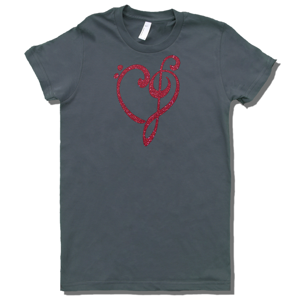 Heart of Music Bass and Treble Clefs, Womens - TntMusicBox - 2