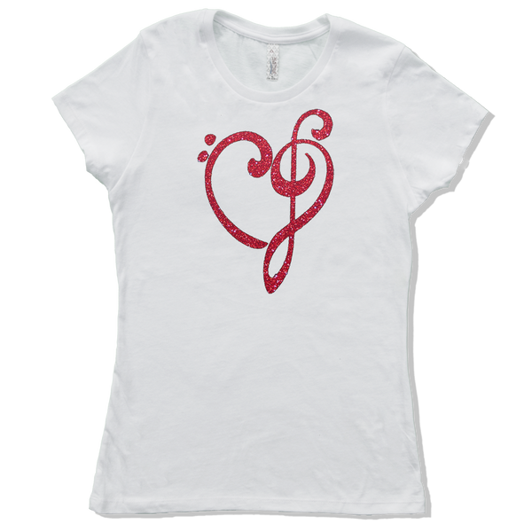 Heart of Music Bass and Treble Clefs, Womens - TntMusicBox - 3