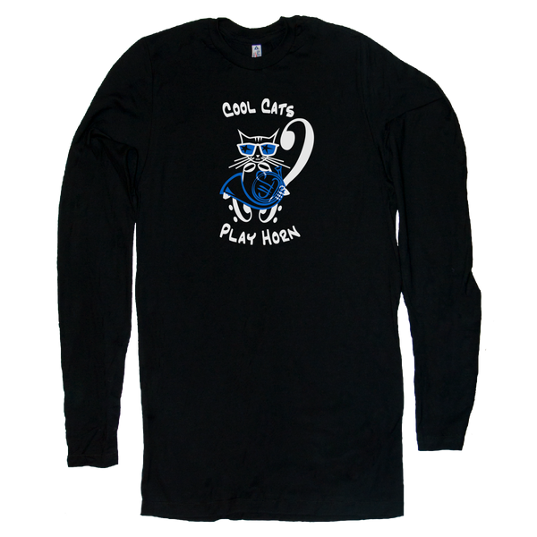 Cool Cat  French Horn T-Shirt, Black Long Sleeve