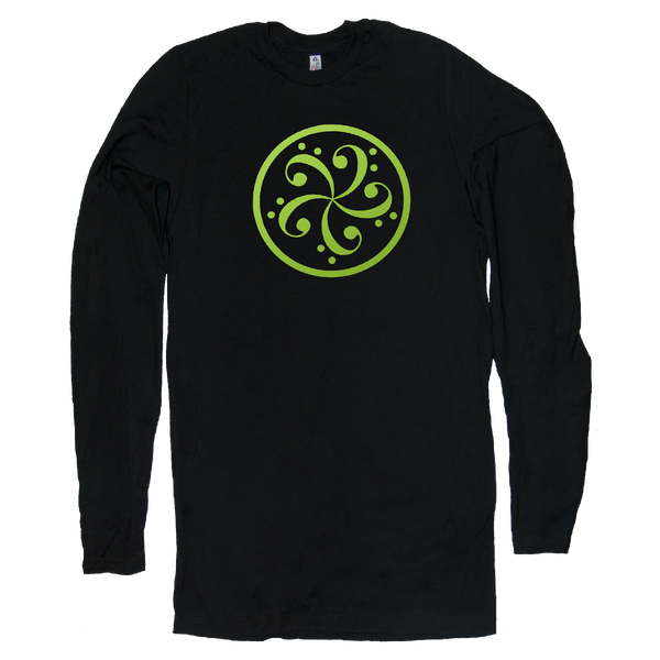 bass clef music t-shirt design mens long sleeve black