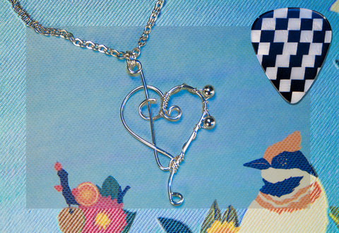 sterling silver heart of treble and bass clef