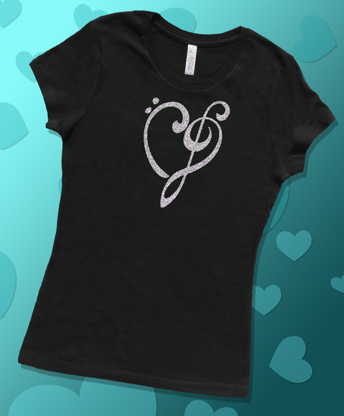 Heart of Music Bass and Treble Clefs, Womens