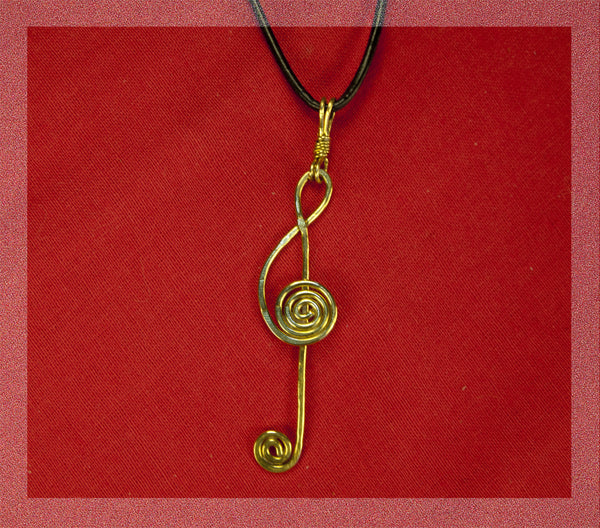 Treble Clef Jeweler's Brass pendant,  2mm leather necklace