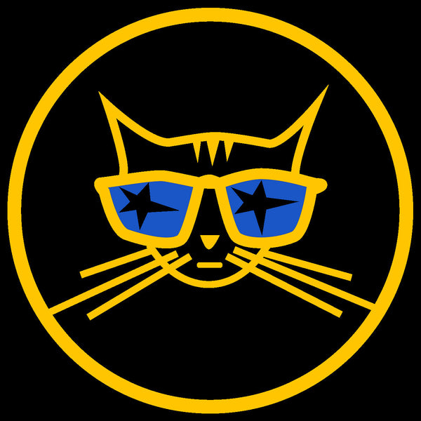 Cool Cat sticker - Decal school bus yellow