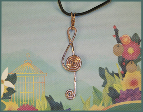 Treble Clef Copper pendant,  2mm leather necklace