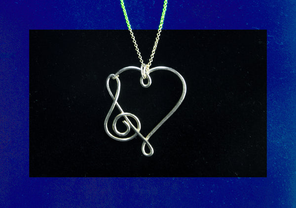 Heart with treble clef pendant and chain necklace, gold filled