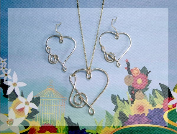 Heart with treble clef earring and necklace combo, Gold filled