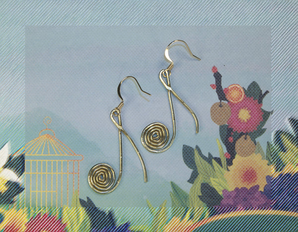 Eight note swirly stylized earings, brass