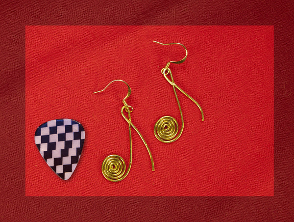 Eight note swirly stylized earings, brass with guitar pick