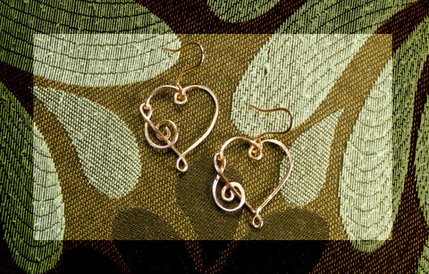Heart with treble clef earrings, Copper