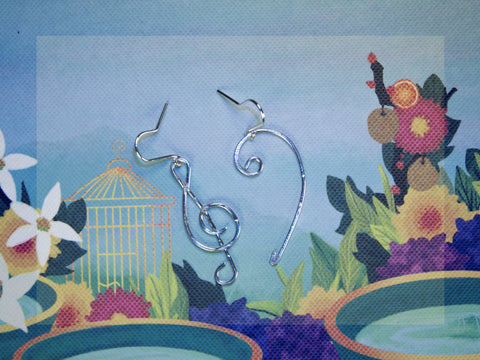 Bass and Treble Clef Earrings. Sterling Silver