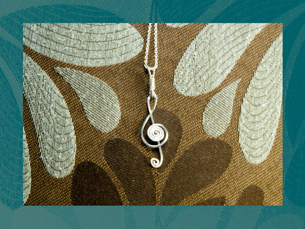 Treble Clef Sterling Silver pendant, 1.3mm Sterling Silver necklace
