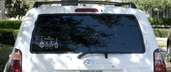 String Family decal sticker on car rear window