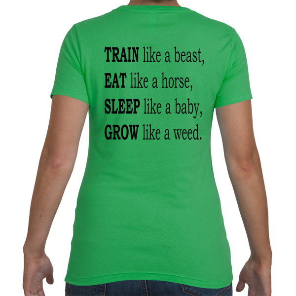 Womens Train, Eat, Sleep, Grow - Kelly Green