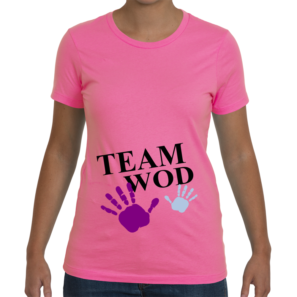 Women's Maternity Team WOD tee - Hot Pink