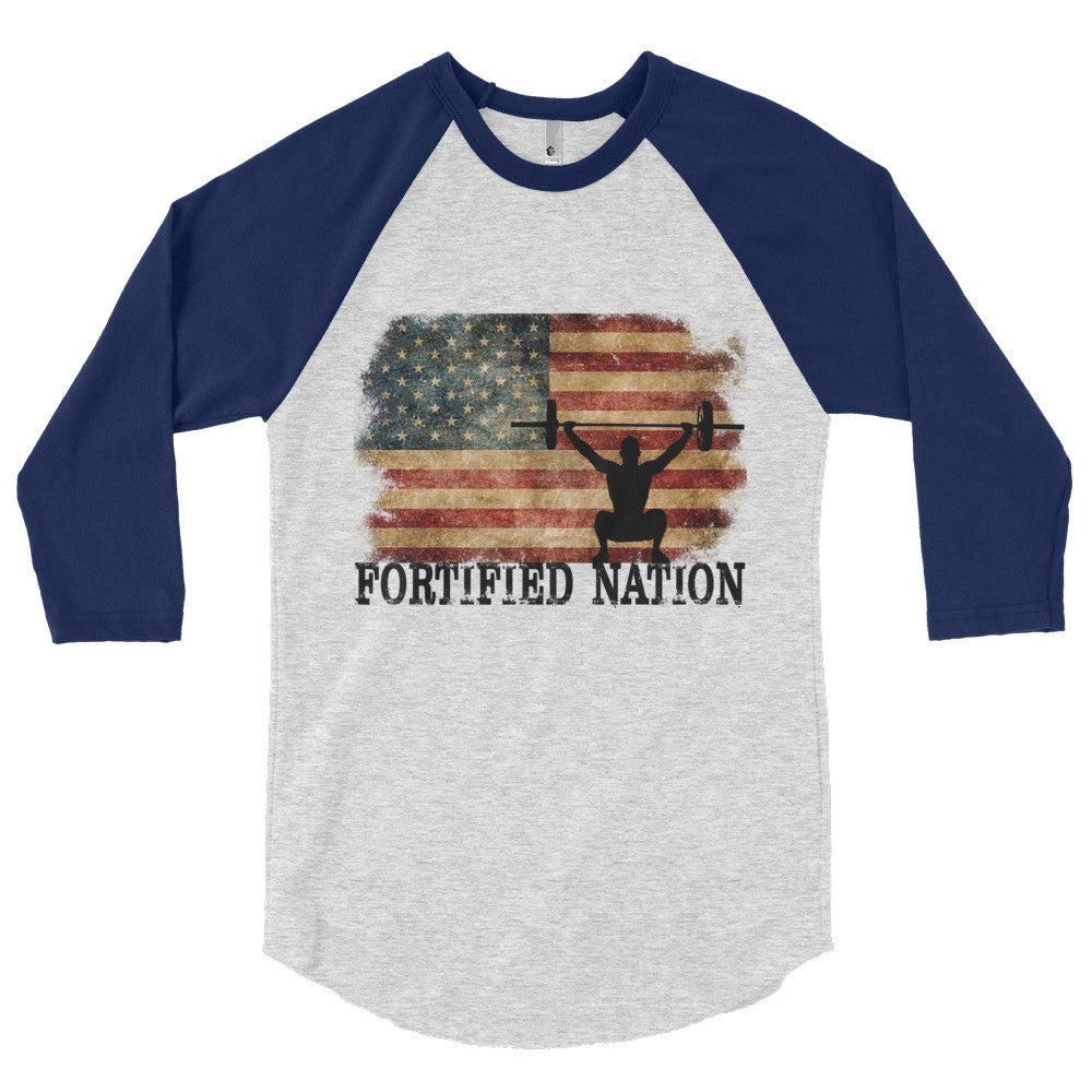 OHS Murica - 3/4 sleeve raglan shirt in Heather Grey/Navy