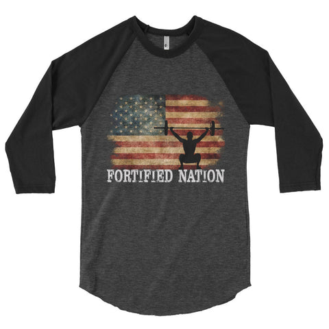 OHS Murica - 3/4 sleeve raglan shirt in Heather Black/Black