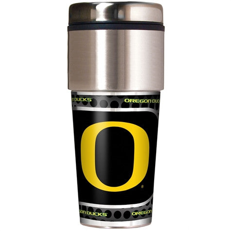 Oregon Ducks 16 Ounce Travel Tumbler with Metallic Graphics