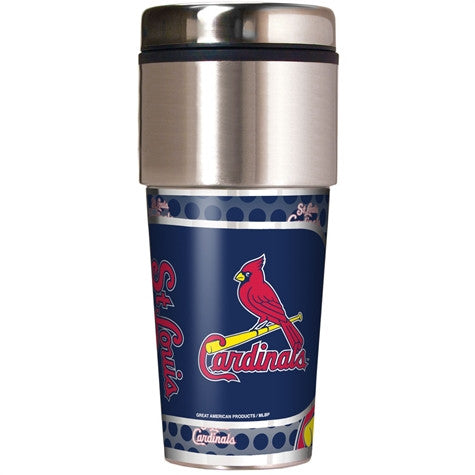 St. Louis Cardinals 16 Ounce Travel Tumbler with Metallic Graphics