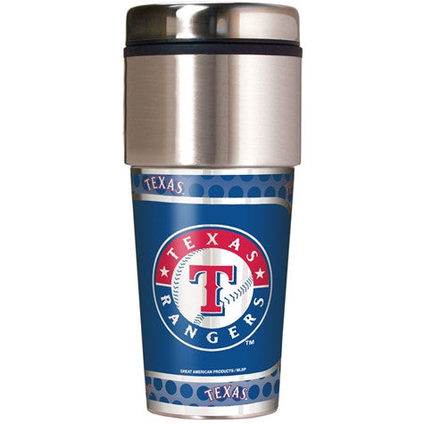 Texas Rangers 16 Ounce Travel Tumbler with Metallic Graphics