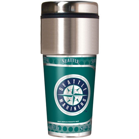 Seattle Mariners 16 Ounce Travel Tumbler with Metallic Graphics