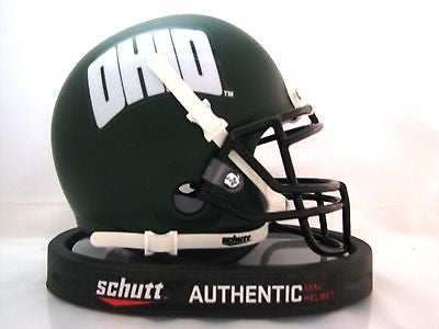 Ohio Bobcats Matte Green Schutt Mini Helmet - Alternate 1