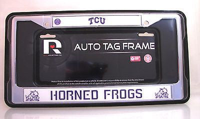 "TCU Horned Frogs 6""x12"" Chrome License Plate Frame"