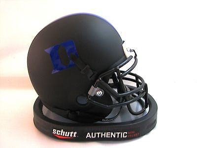 Duke Blue Devils Matte Black Helmet with Blue Logo Schutt Mini Helmet - Alternate 3