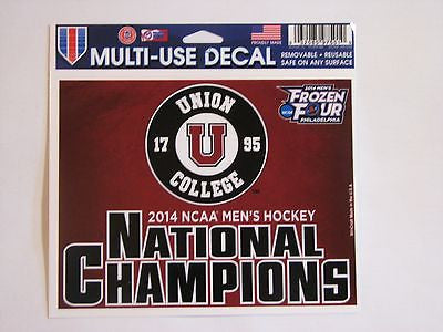 "Union College Dutchmen 2014 Men's Hockey National Champions 5""x6"" Decal"
