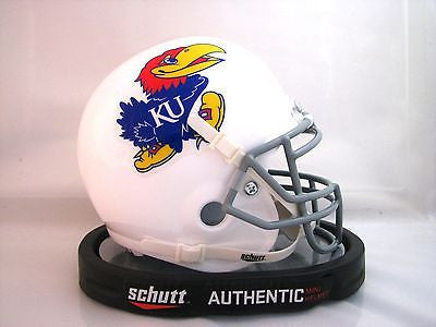 Kansas Jayhawks White Schutt Mini Helmet - Alternate 1