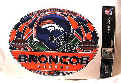 "Denver Broncos 11""x17"" Stained Glass Style Ultra Decal Sheet"