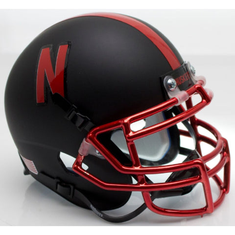 Nebraska Cornhuskers 2015 Black with Chrome Mask Schutt XP Mini Helmet - Alternate 4