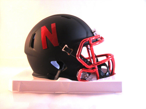 Nebraska Cornhuskers Riddell Speed Mini Helmet - 2015 Black Alternate with Chrome Facemask