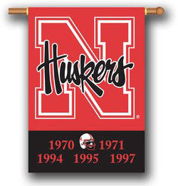 "Nebraska Cornhuskers 28""x40"" Two-Sided Banner - Championship Years"
