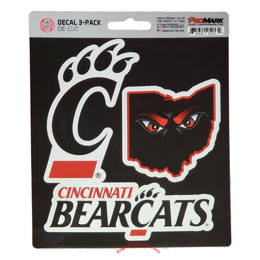 Cincinnati Bearcats Die Cut Decal Sheet - 3 Decals
