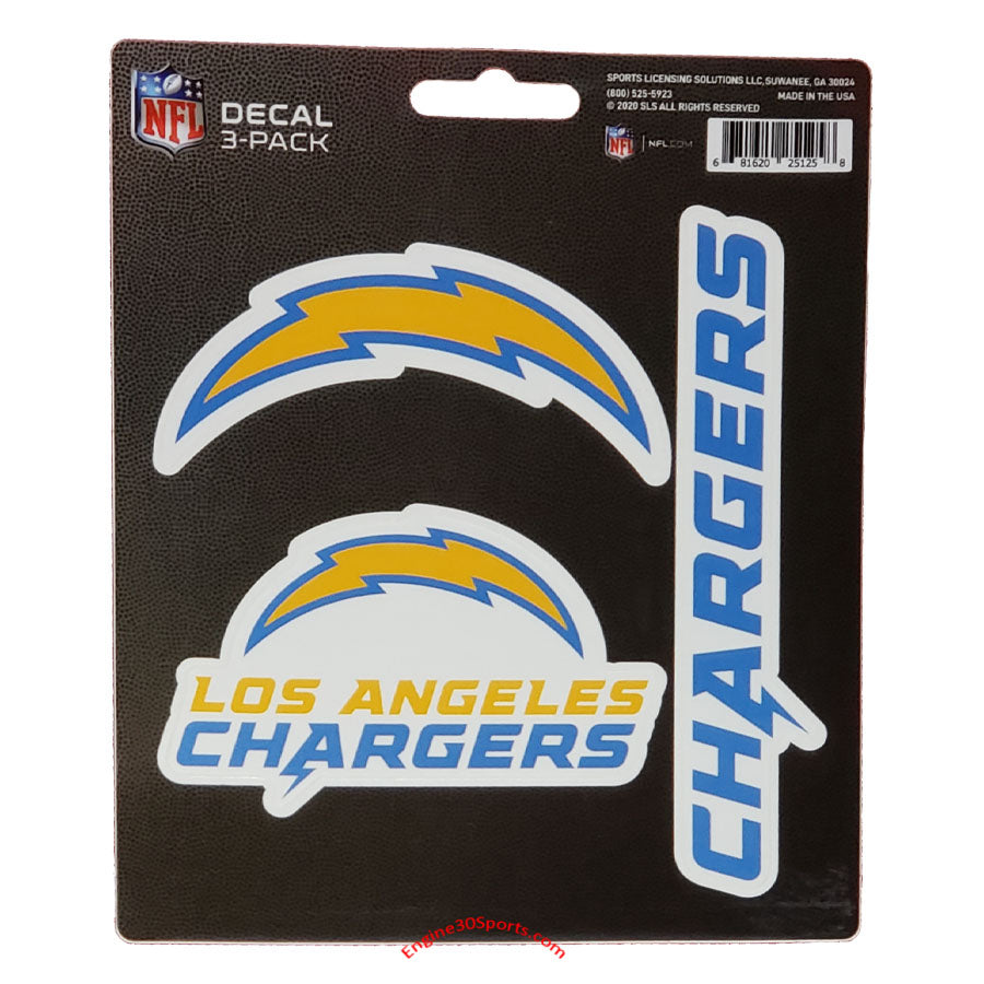 Los Angeles Chargers Die Cut Decal Sheet - 3 Decals