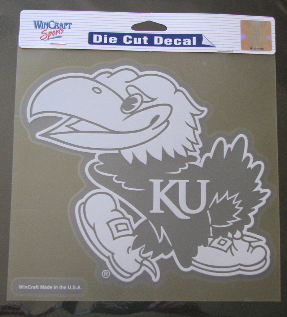 "Kansas Jayhawks 8""x8"" White Decal"