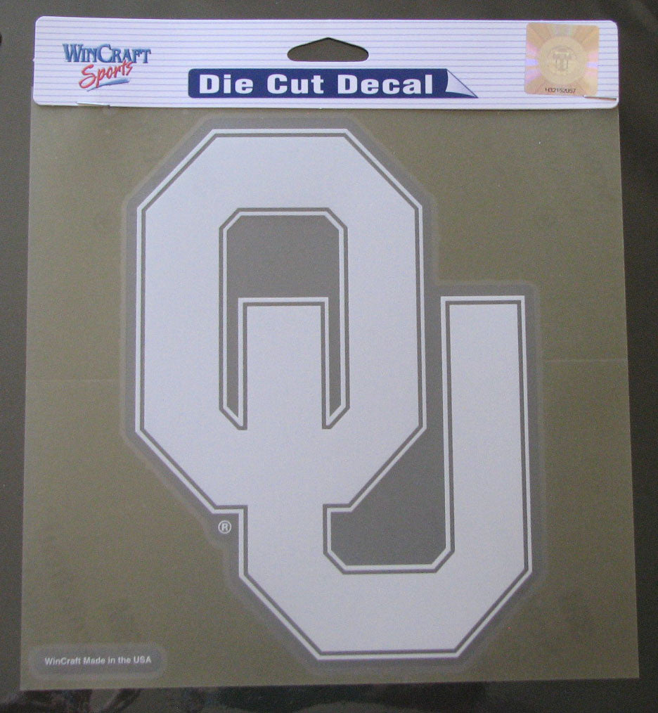 "Oklahoma Sooners 8""x8"" White Decal"