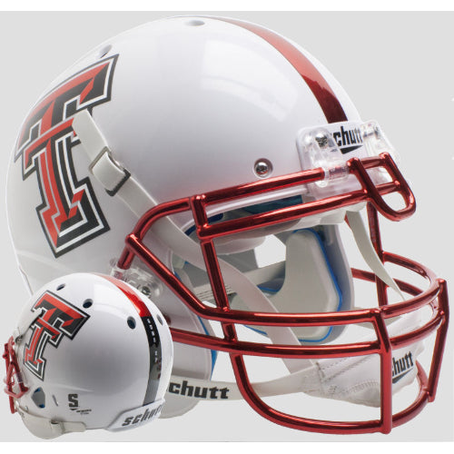 Texas Tech Red Raiders White with Red Chrome Mask Schutt XP Authentic Helmet - Alternate 13
