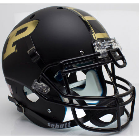 Purdue Boilermakers Matte Black Schutt XP Authentic Helmet - Alternate 1