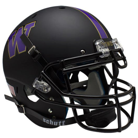 Washington Huskies Matte Black Schutt XP Authentic Helmet - Alternate 1