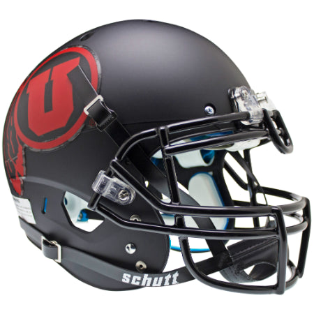 Utah Utes Matte Black with Red Decal Schutt XP Authentic Helmet - Alternate 1